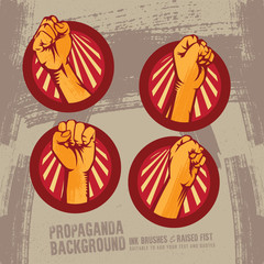 Propaganda Logo Style Revolution Fist Raised In The Air. Clenched Fist