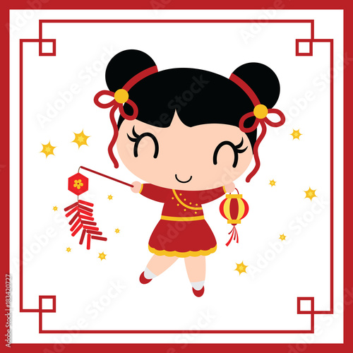 Cute Chinese Girl Plays Firecrackers Vector Cartoon Illustration For New Year Card Design Postcard
