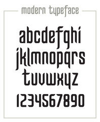 Modern condensed sanserif narrow font with numerals in vector format