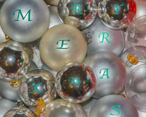 Christmas ornaments made into a backdrop for a background