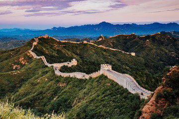 Beijing, China - AUG 12, 2014: Sunrise at Jinshanling Great Wall of China