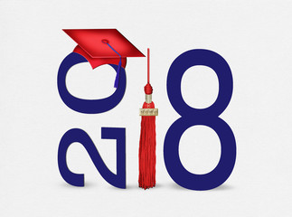 red 2018 graduation cap and tassel with dark blue text on textured white background