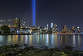 9/11 Tribute in Lights at Brooklyn Bridge and Lower Manhattan Skyline, New York United States