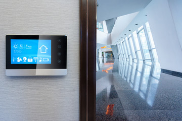 smart screen with smart home with modern corridor