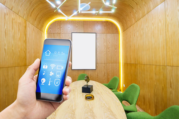 smart phone with smart home with modern dining room