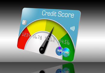 A credit score meter with a dial that goes from red to yellow to green, decorates a credit card in this 3-D illustration.