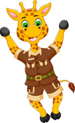 cute giraffe cartoon standing with smile and hand up cheerful