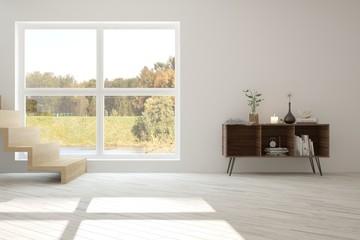 Idea of white room with shelf and autumn landscape in window. Scandinavian interior design. 3D illustration