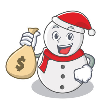 With money bag snowman character cartoon style