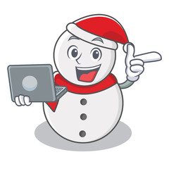 With laptop snowman character cartoon style