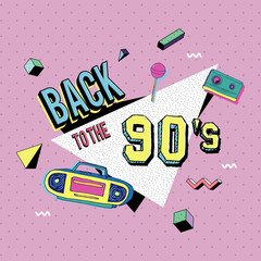 Back to the 90s memphis style vector illustration