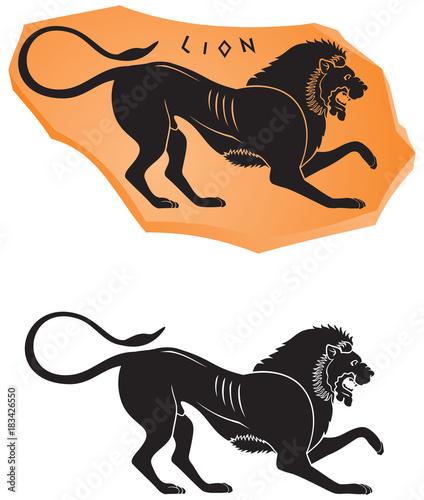 Ancient Greek Ceramic Style Lion Icon Black Figure Vase Painting