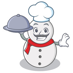 Chef with food snowman character cartoon style
