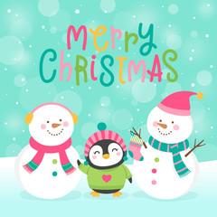 Cute snowman and penguin cartoon illustration for christmas card template