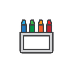 Crayons box filled outline icon