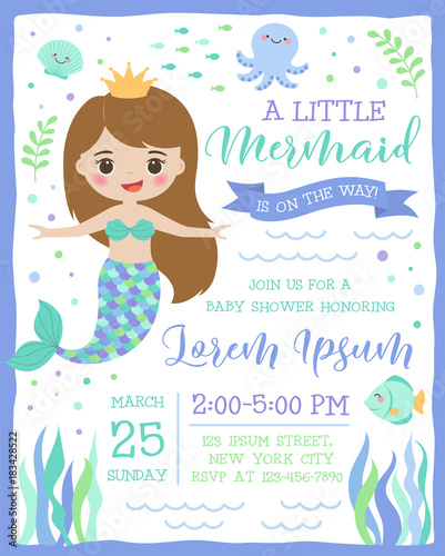 Cute mermaid and sea life cartoon for party invitation card template cute mermaid and sea life cartoon for party invitation card template stopboris Images