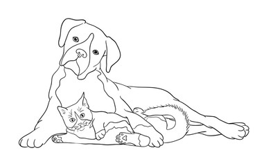 Cat & dog line art 10. Good use for symbol, logo, web icon, mascot, coloring book, sign, or any design you want.