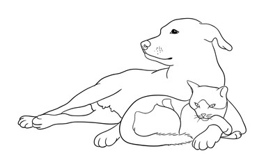 Cat & dog line art 09. Good use for symbol, logo, web icon, mascot, coloring book, sign, or any design you want.