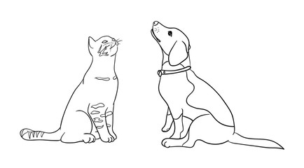 Cat & dog line art 08. Good use for symbol, logo, web icon, mascot, coloring book, sign, or any design you want.