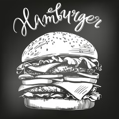 big burger, hamburger hand drawn vector illustration sketch. chalk menu. retro style