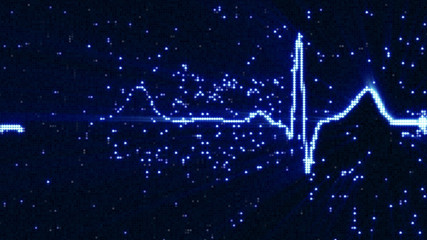 Glowing blue EKG electrocardiogram waveform on monitor