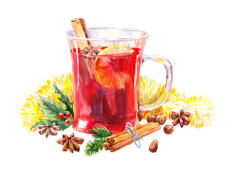 Watercolor mulled wine. Christmas illustration isolated on white.