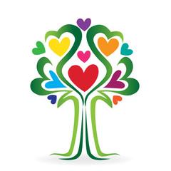Tree love heart family concept logo vector
