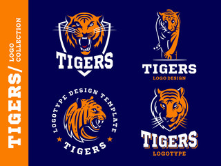 Tigers - logo, icon, illustration collection on dark blue background