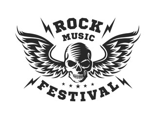 Skull and wings for rock music festival - logo, illustration on a white background