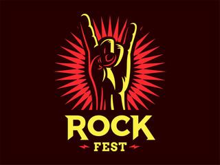 Rock sign gesture for music festival - logo, illustration on a dark background