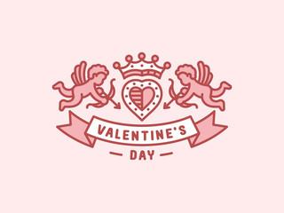Valentines day - heraldry emblem, illustration