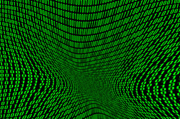 An image of a corrupted and distorted binary code made up of a set of green digits on a black background