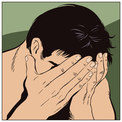 Man cries, closing his face hands. Stock illustration.