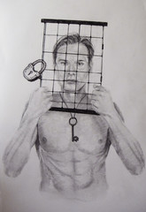 A young man with a naked torso original drawing. Head in a cage, on neck a key, black and white, lock. Impressionism. Art.