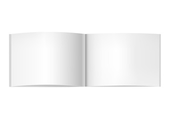 Vector realistic two-pages opened book, journal or magazine mockup. Blank open centre page spread of sketchbook or notebook template for catalog, brochure design