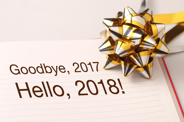 Goodbye 2017 welcome 2018 with decoration.