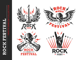 Rock music festival logo, emblem and print collections on a white background