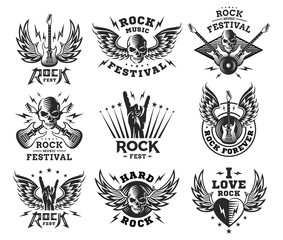 Rock music festival logo, illustration and print collections on a white background