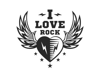 Love, heart and wings for rock music print - logo, illustration on a white background