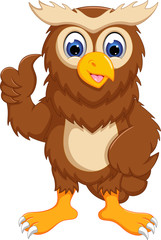cute owl cartoon standing with smile and thumb up