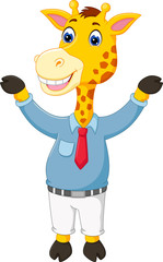 cute giraffe cartoon posing with smile and waving