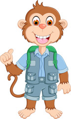funny monkey cartoon standing with laugh and pointing finger