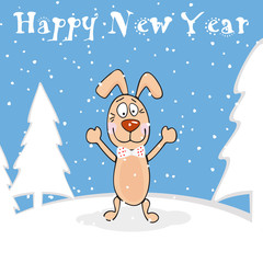 New Year background card with happy dog.
