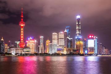 Shanghai skyline night view on Huangpu river, China