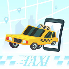 Mobile auto application. Transport service, position pin on map. Vector colorful illustration in flat style image City taxi design flat. Yellow cab drive in town.