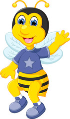 cute bee cartoon flying with waving and smile