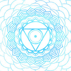 Throat Chakra symbol illustrated with water color - mandala for yoga, meditation, ayurveda