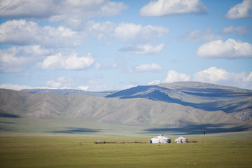 Mongolian yurt on a hill