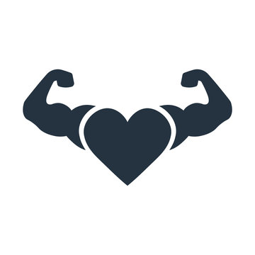 heart muscles icon on white background, fitness, sport