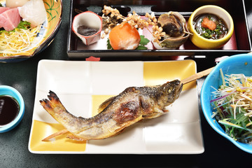 Grill Ayu fish japanese food. Japanese style.